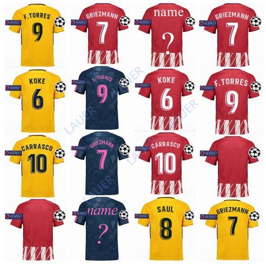 Top Tailandia Atlético Madrid Soccer Jersey 2017 2018 GRIEZMANN KOKE GABI  SAUL CARRASCO DIEGO COSTA GODIN Hombres Adultos Camisetas De Fútbol  Uniformes Por ... 9d9fcba3bc58b