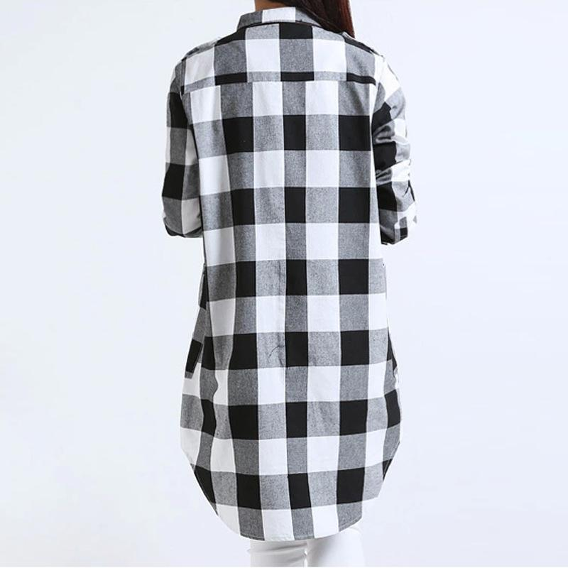 39b7107233f 2019 Women Cotton Plaid Shirt Long Sleeve Irregular 5XL Plus Size Ladies  Shirts Casual Check Tunic Long Blouse Top Black Red Blusas From Jenwer