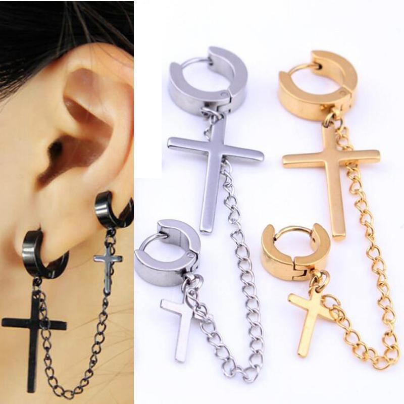 67450eeaf 2019 Earrings Stud Earrings Punk Stainless Steel Stud Earring Men Cross  Earring Fashion Long Tassels Crosses Body Piercing Jewelry Gold From  Yan234, ...