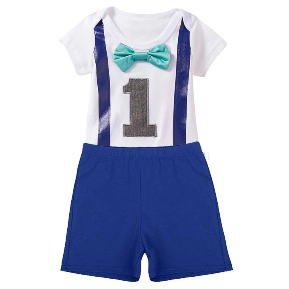 Baby Boys Girls 1st Birthday Cake Smash Outfits Romper Shorts For One Year Clothes Photo Prop Bodysuit Pants