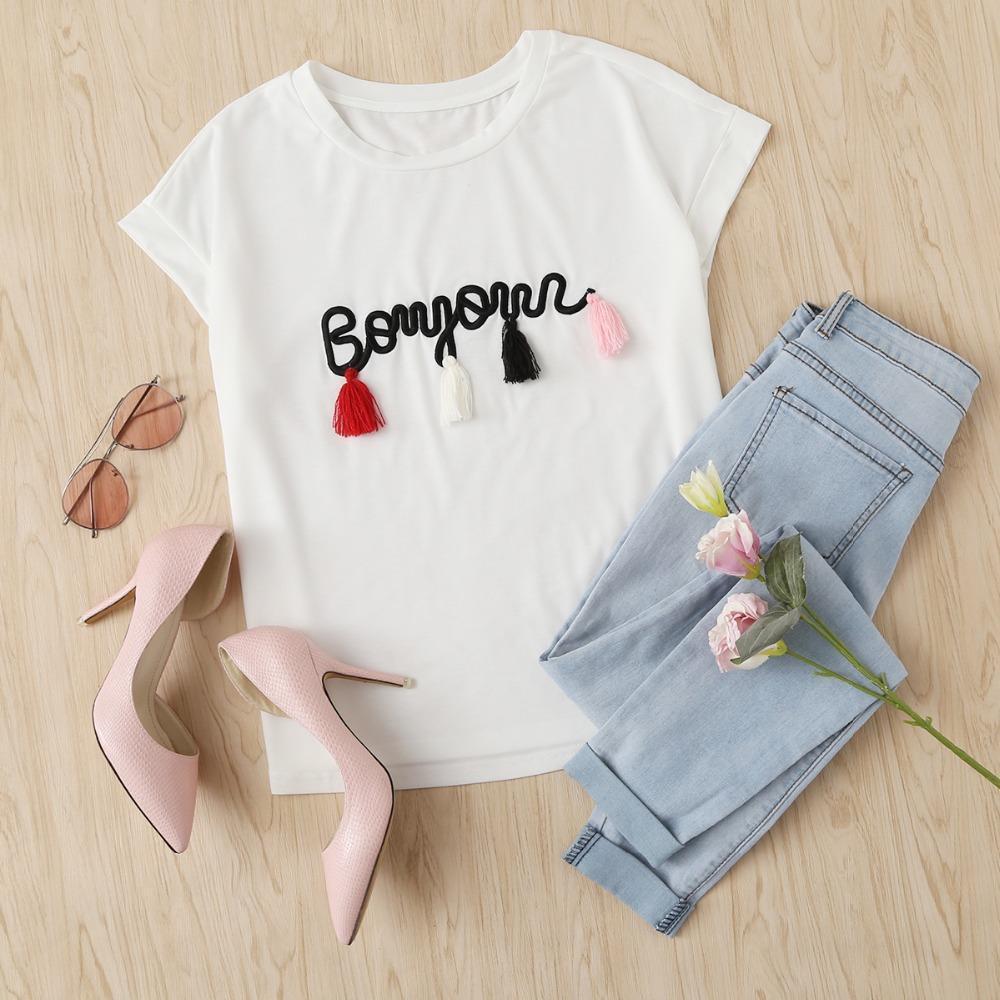 b2e237524 SHEIN T Shirt Women Tops Summer O Neck T Shirt Batwing Sleeve Tassel Detail  Embroidery Dolman Top White Short Sleeve T Shirt Funny Screen Tees Best  Online ...
