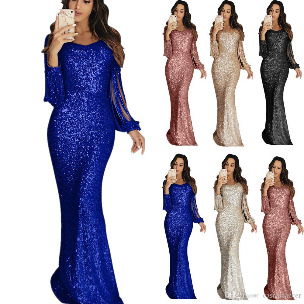 Women Elegant Banquet Dress Sequin Patchwork Panelled Dress Quality Suspenders Crew Neck Sexy Maxi Dresses Evening Dress 5Colors