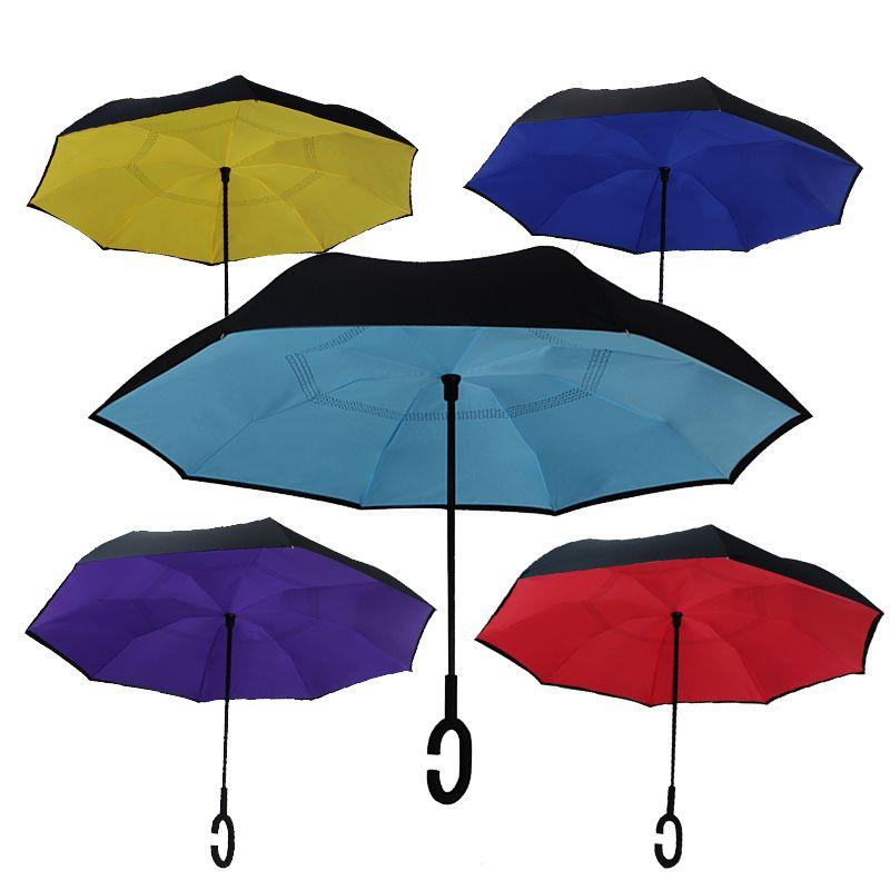167b164403 23Inch Folding Reverse Umbrella Double Layer Inverted Windproof Rain Car  Umbrellas For Women Man Anti UV Self Stand Paraplegia