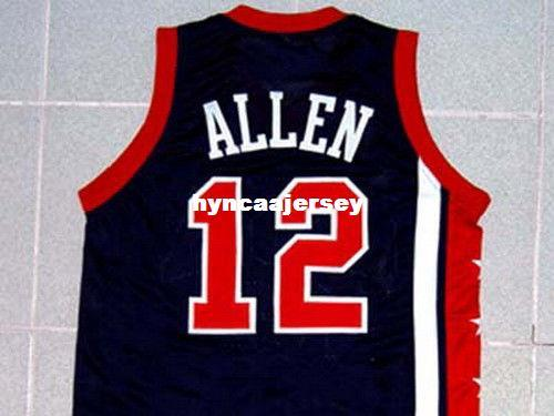 Mens economici RAY ALLEN TEAM JERSEY NEW BLU ANY SIZE XS - 5XL Retro Basketball Jerseys NCAA College