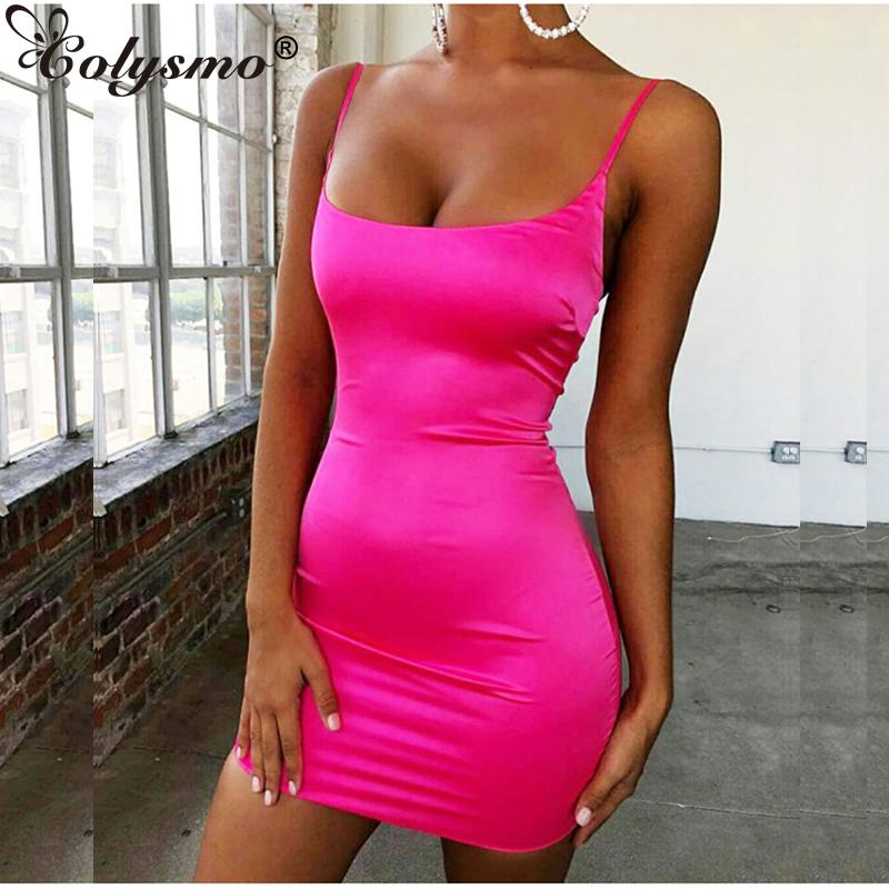 Colysmo Stretch Satin Mini Dress Women Sexy Straps Slim Fit Bodycon Party Dress Neon Green Pink Dual-layered Robe Femme