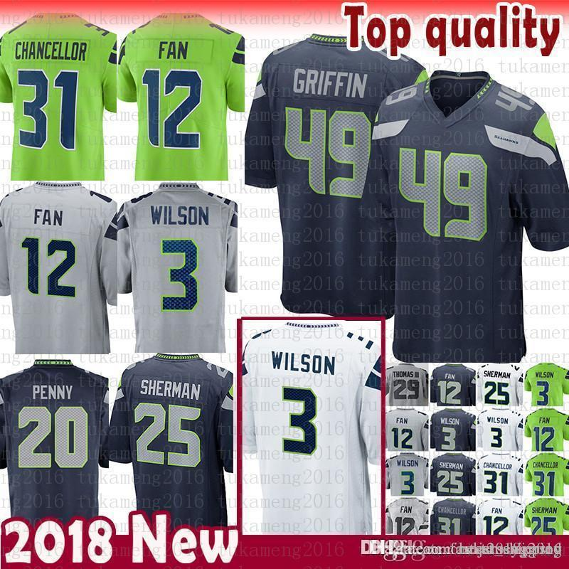 49 Shaquem Griffin 3 Russell Wilson Seattle Seahawks Jersey 12s 12th ... b47dec1fa
