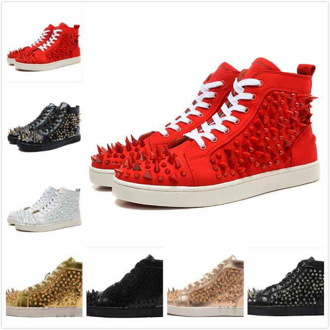 the best attitude ec4a8 137f6 New Designer Brand Red Bottom Shoes Men Women Red Suede Leather With Mix  Spikes High Top Casual Shoes Lovers Shoes 35-47 Drop Shipping