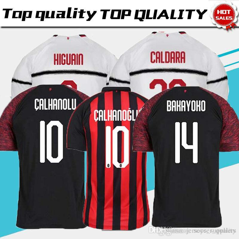 18 19 AC Milan HIGUAIN Camisetas De Fútbol De Casa 2018 2019 SUSO ROMAGNOLI  CUTRONE KESSIE Milan Visitante LOCATELLI CALHANOGLU Camiseta De Fútbol Por  ... 2c3f6abb255a2
