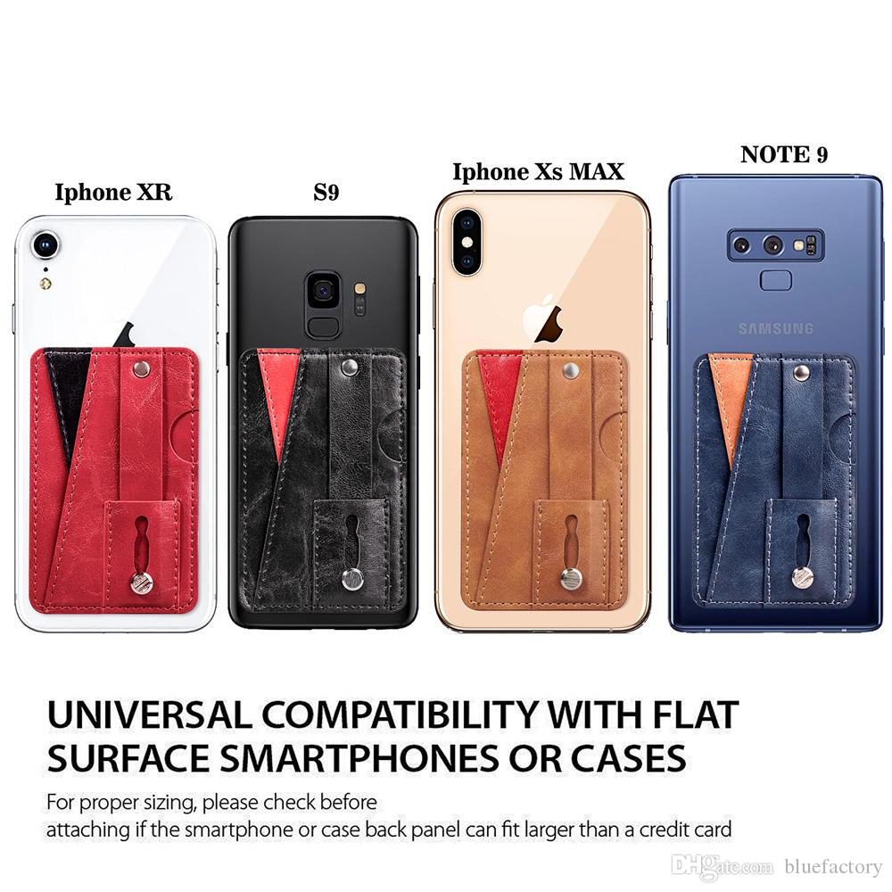 newest b5a4c b58cf New Universal Card Holder Back Phone Card Slot Leather Pocket Stick On  Wallet Cash ID Credit Holder For Cellphone Case iPhone X XS MAX XR 8