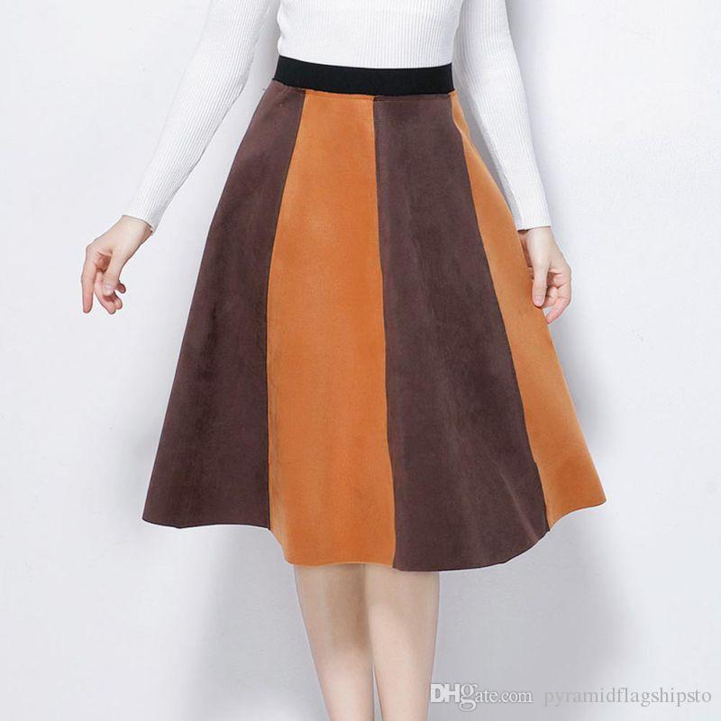 f8dd26b77 Mujeres Casual Una Línea Falda Patchwork Color Bloque Falda Casual Mujer  Harajuku Otoño invierno streetwear