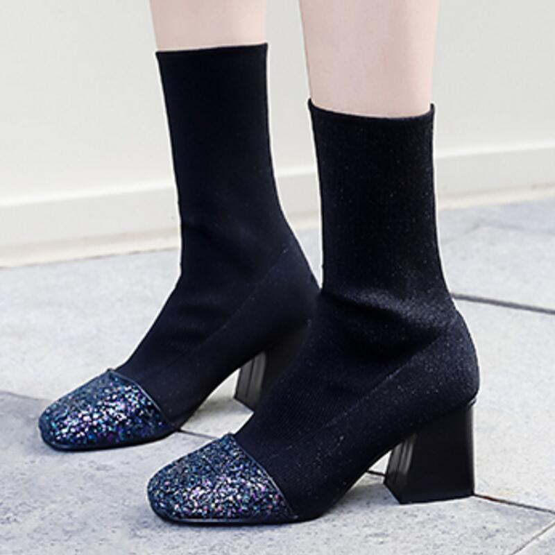 1e6a7d80fc7 Ladies Chaussure Women Knitting Shoes Woman Zapatos Mujer Sapato mid-calf  Boots Chunky High Heels Booties Shiny Glitter XZ181266