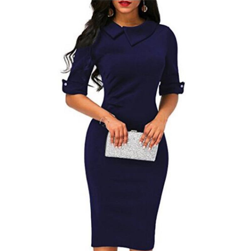 Acquista Vestito Elegante Aderente Da Donna 2019 Vestito Da Mezza Manica  Elegante Alla Moda Manica Lunga Da Donna Con Maniche Lunghe A  48.13 Dal  Bibei08 ... c1872dacb31