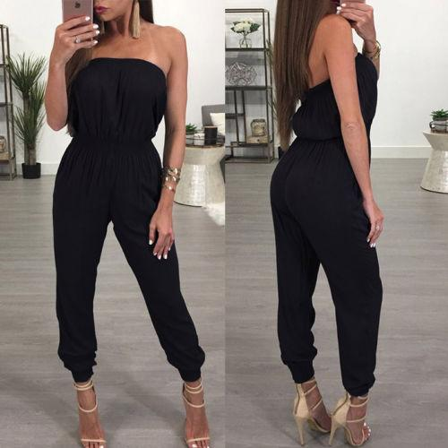 Women's Off-the-shoulder Jumpsuit Clubwear Playsuit Bodycon Party Romper Trouser