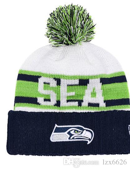 5fa71f3ad6c Wholesale Fashion Fan S Seattle Cuffed Knit Hat Pom Baseball Sport Skullies Beanie  Caps Cheap Football Seahawks Beanies One Size Fits Most Hats And Caps ...