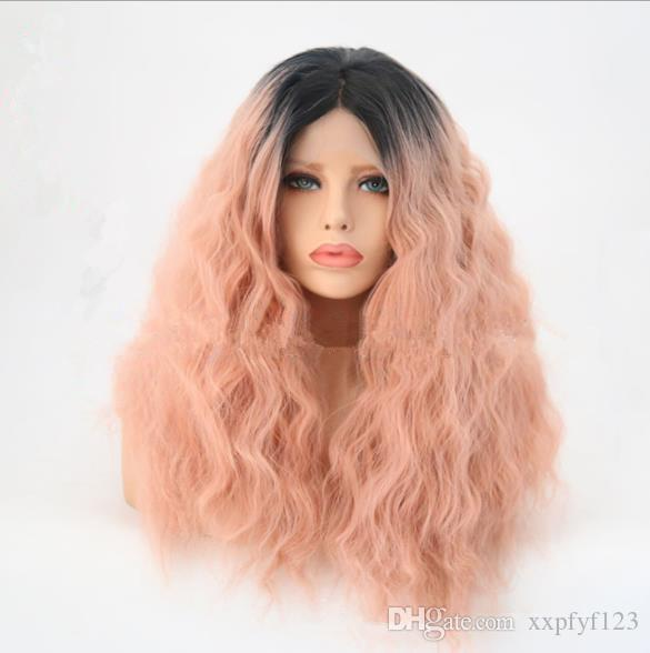 Front lace wig Europe and America black pink corn hot short hair fluffy short curly hair dyed Ombre Color wig FZP127
