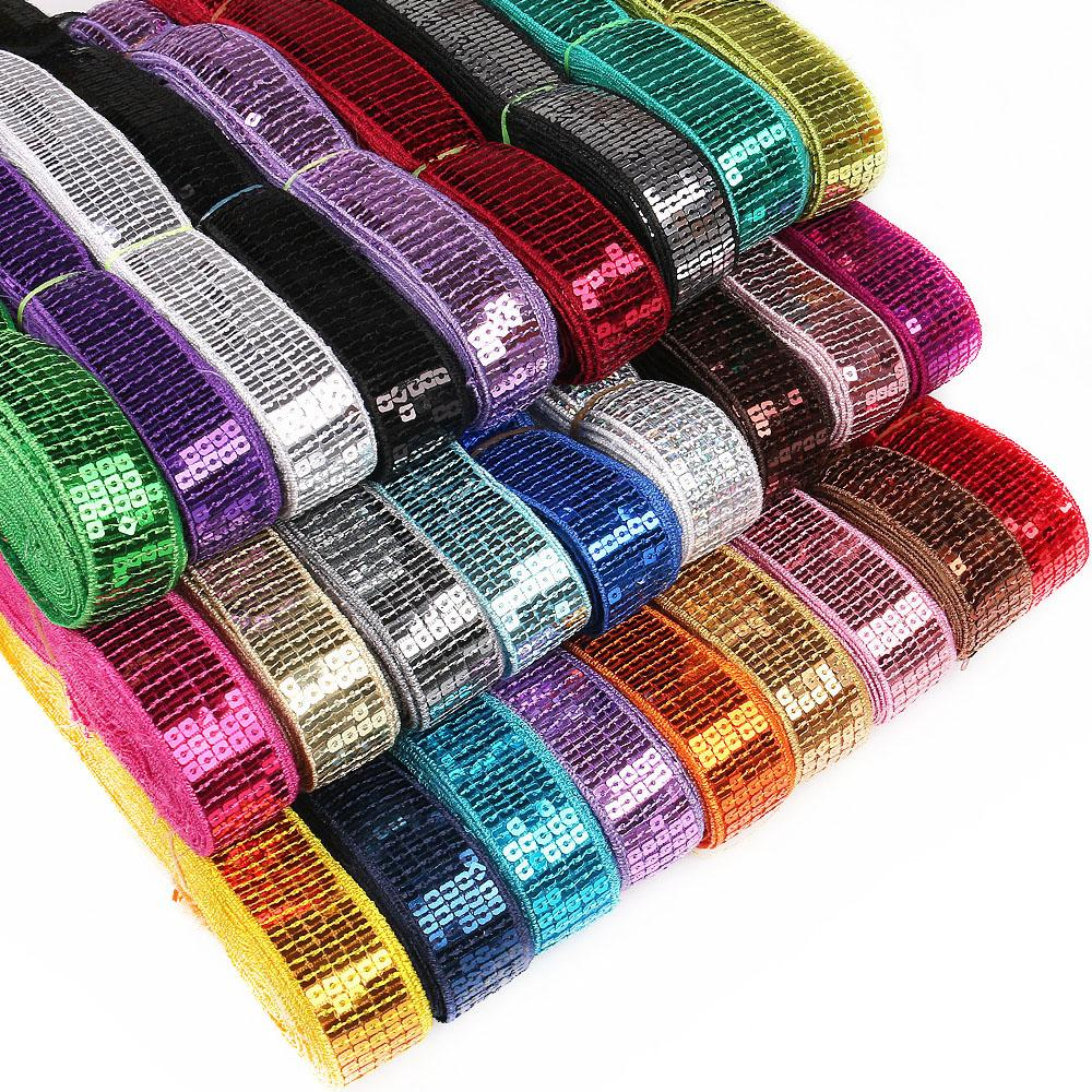 5 Yards/lot spangle Sequin Beading Ribbon DIY Lace Trim For hand craft Garments Head dress Decoration