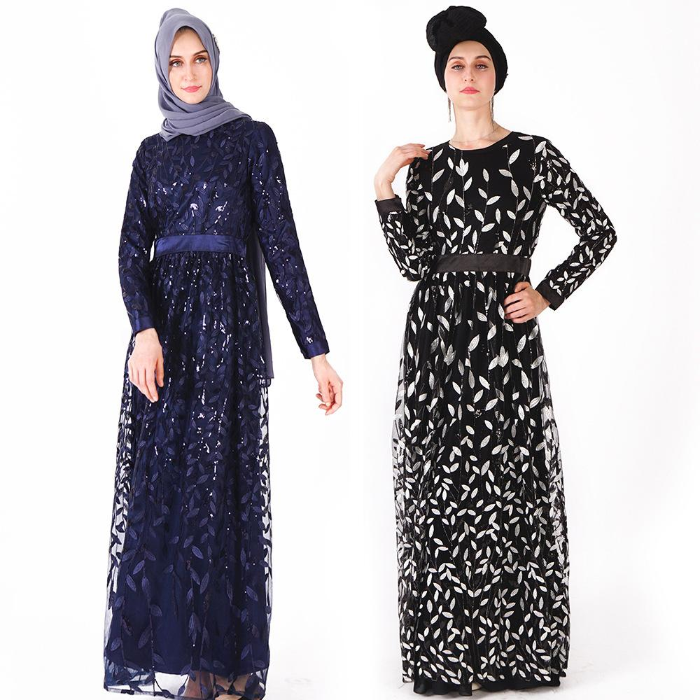 d94c7c13959c9 Muslim women long dress sequins leaves embroidered Ethnic Clothing Dubai  Arab women Robes Kaftan Gown Cocktail