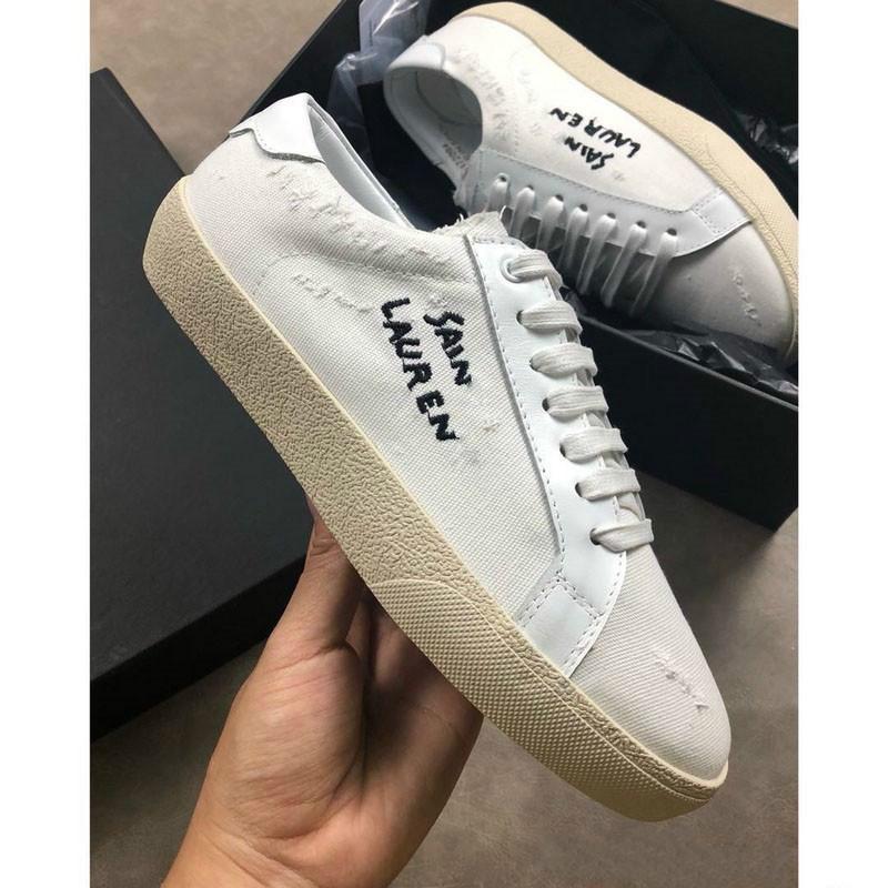 Toile D St Meilleure Beige Boite Saintlaure Femme Noire Qualité Avec Origine Designer À Chaussures 2018 Sneaker Style Saint Laurent Lettre lcT1FKJ