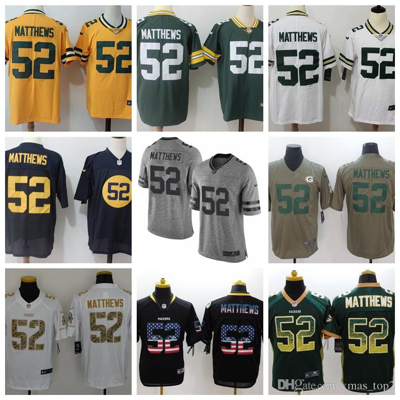 premium selection fc436 c93c2 2019 Mens 52 Clay Matthews Green Bay Packers Football Jersey 100% Stitched  Embroidery Clay Matthews #52 Color Rush Football Shirts