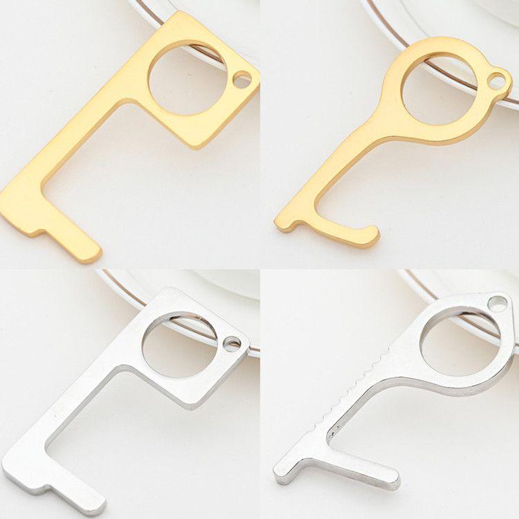 5 style Key chain metal Non-Contact Door Opener Hook anti touch key chain Door Handle Key Elevator Tool T2I5905