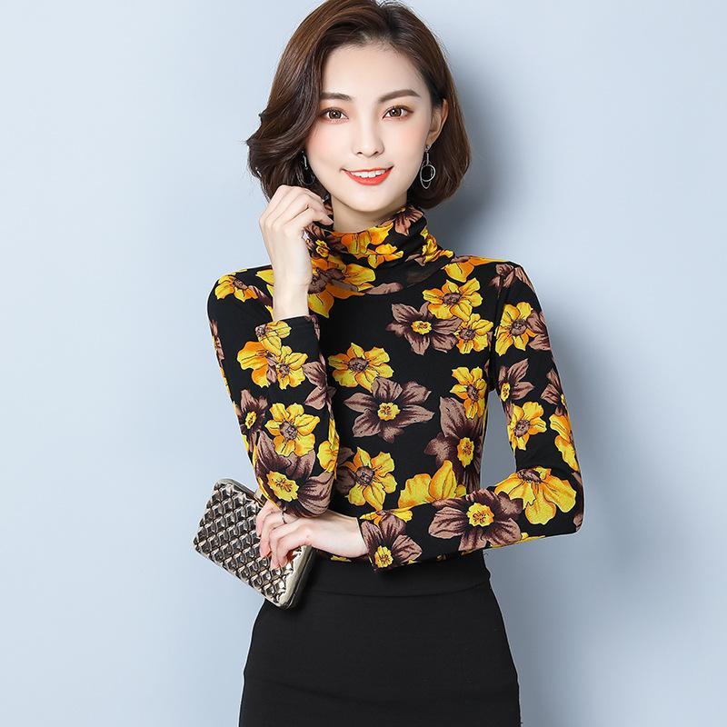 bc8f69afc52 Elegant Mesh Turtleneck Shirt Tee Femme Slim Fit Spring Long Sleeve ...
