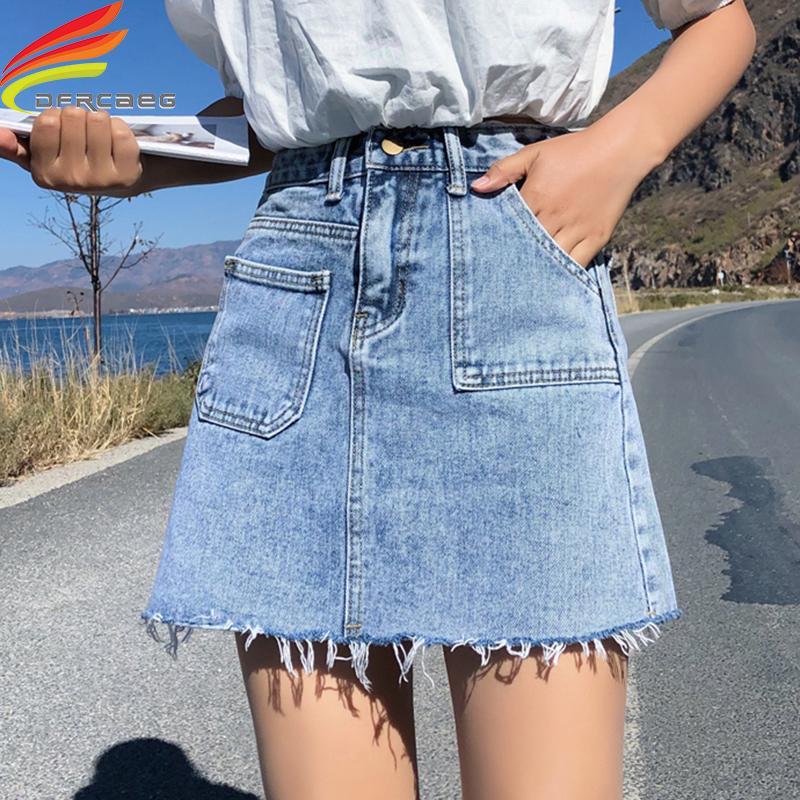 9d46cd50e4 2019 Blue Pockets Casual Mini Denim 2019 Spring Summer Bodycon Basic ...