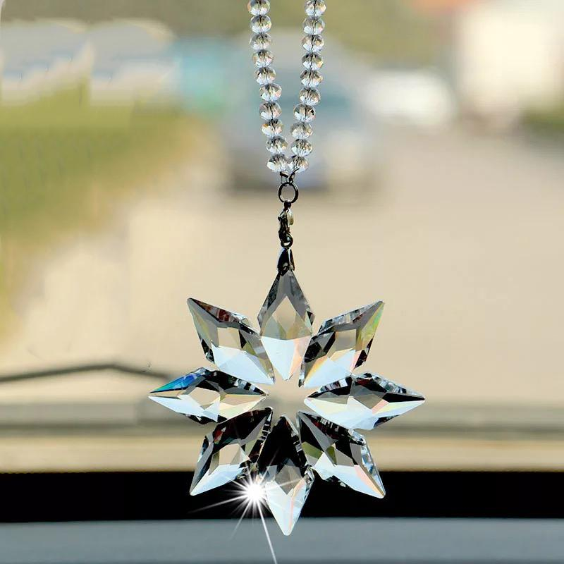 Car styling Pendant Transparent Crystal rearview mirror Decoration Snowflake Hanging Trim Christmas Gifts Auto Accessories