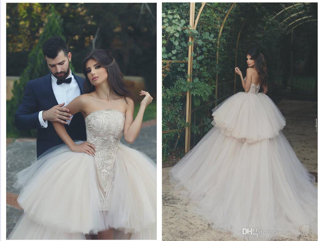Ball Gown Tulle Short Beach African Corset Wedding Dresses