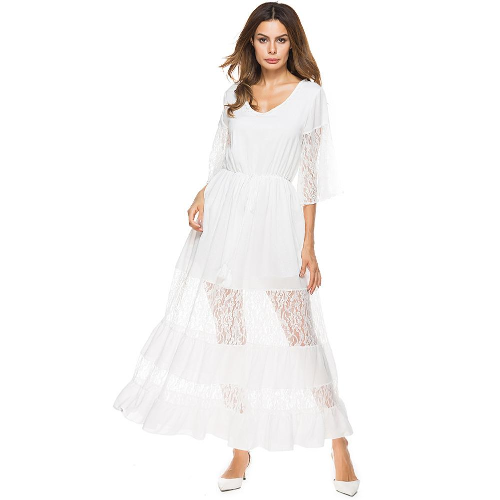 079d404de8 Elegant Women s Maxi Dress Sheer Lace Splice Half Sleeves White Beach Dress  V-Neck Elastic Waist Evening Party Long Dresses 2019