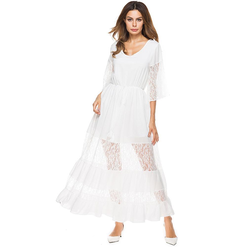 c8f72ed8ec19 Acquista Elegante Abito Da Donna Maxi Sheer Lace Mezza Maniche A Maniche  Lunghe White Beach Dress Con Scollo A V Elastico In Vita Da Sera Abiti  Lunghi Da ...