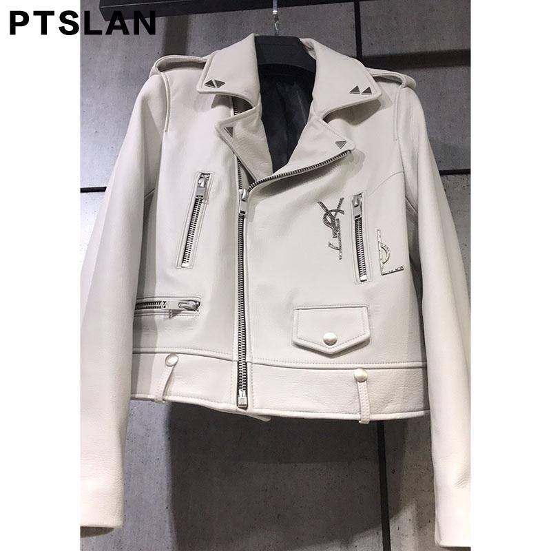 539294586b2 Ptslan 2017 Women S Genuine Leather Jacket Motorcycle Classic Sheepskin  Lambskin Jackets Female Basic Good Quality P2583