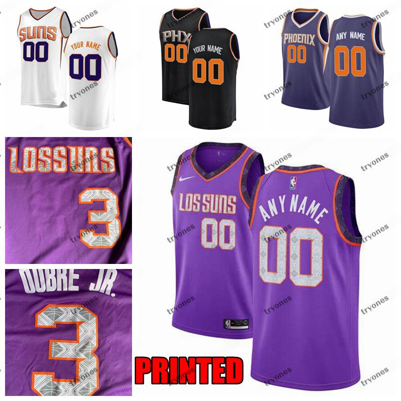 on sale 18d82 85732 Printed Phoenix City Suns Kelly Oubre Jr. 3 Devin Booker 1 Josh Jackson 20  Deandre Ayton 22 Jimmer Fredette 32 Customize Basketball Jersey