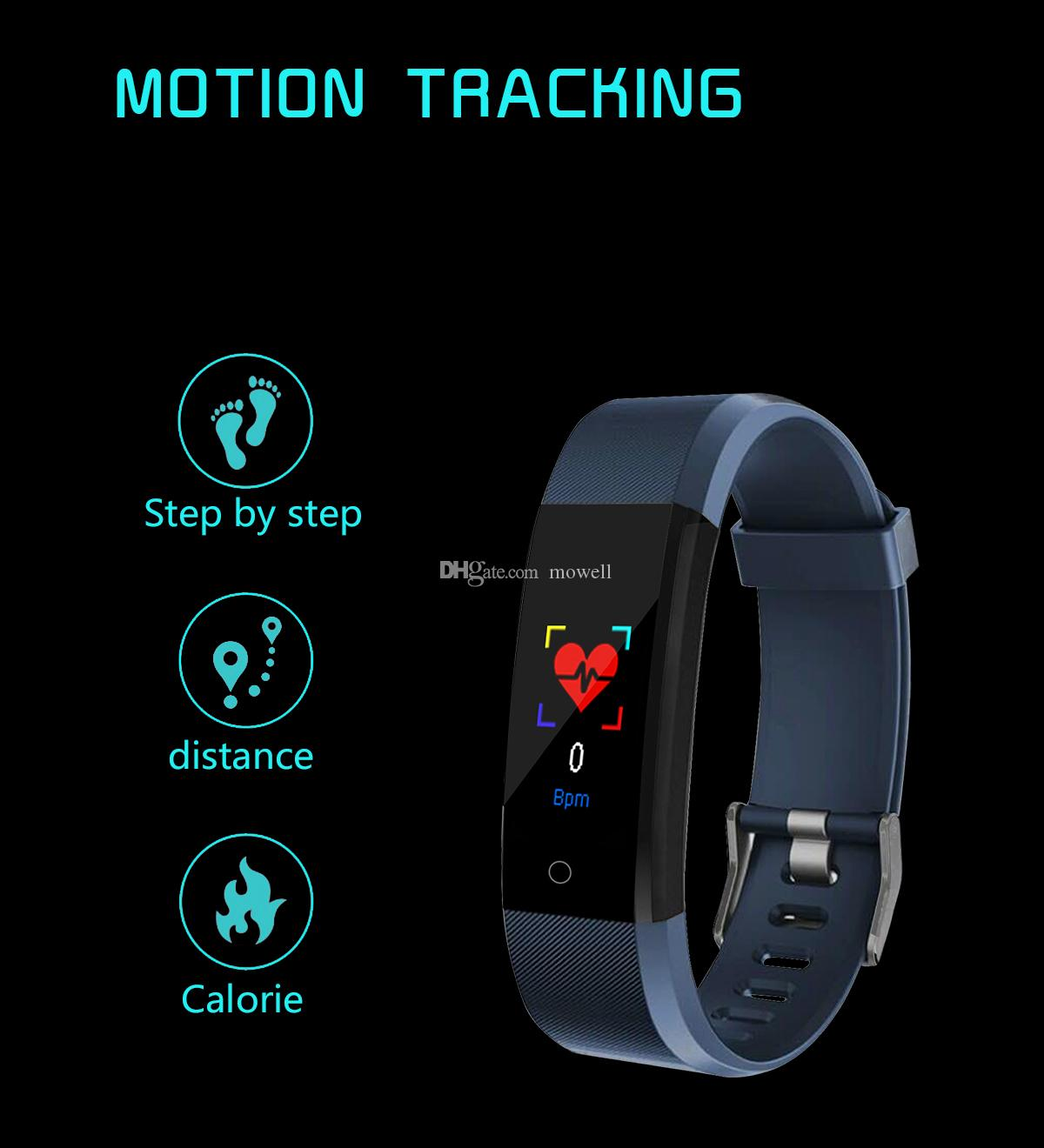 115 Plus Smart Bracelet Color Screen Sport Wristband For iPhone IOS and Android Smart Phone Wearable Bracelets Heart Rate Touch Clock