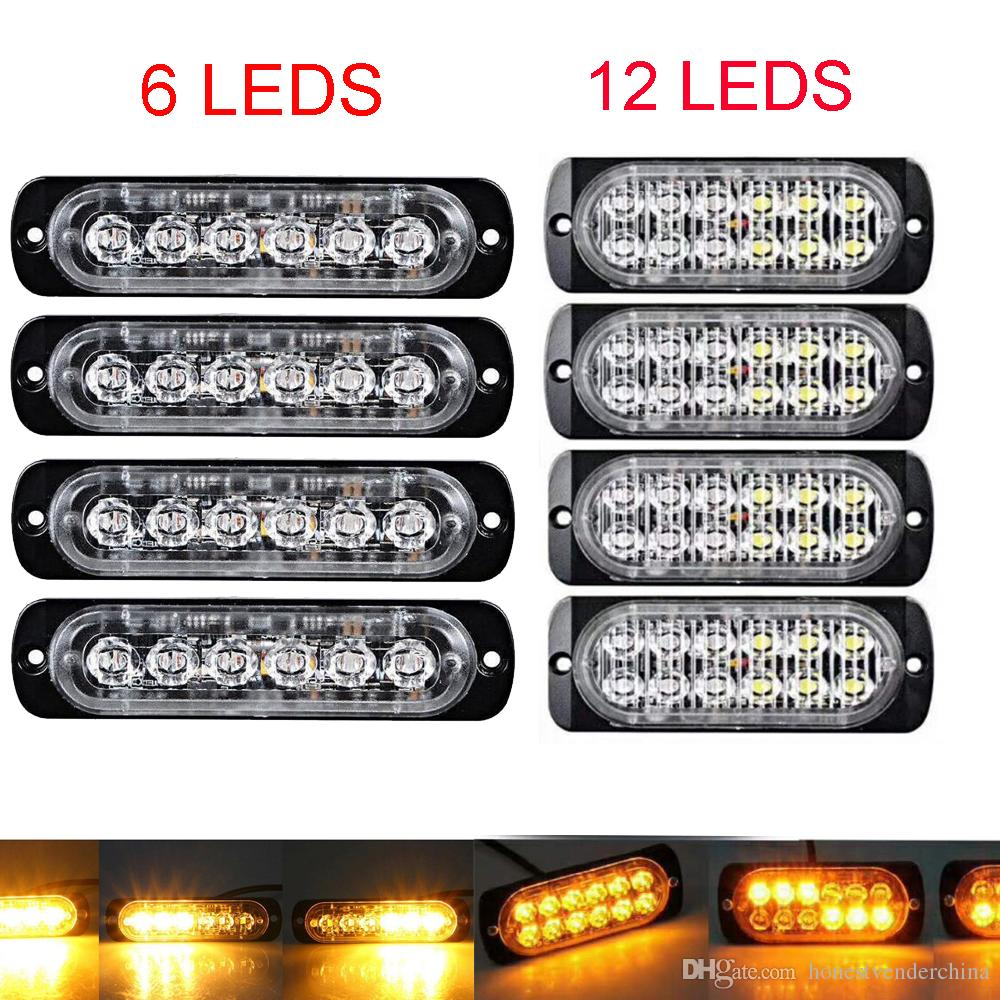 2X Car Truck Trailer Side marker strobe lights Amber 6/12 LED Flashing warning lamp 19 flash patterns 12V-24V Super bright