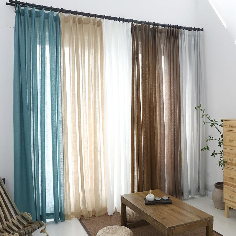 White Solid Tulle Curtains for the Bedroom Blue Brown Grey Voile Sheers for Living Room Modern Blinds Window Door Tulles