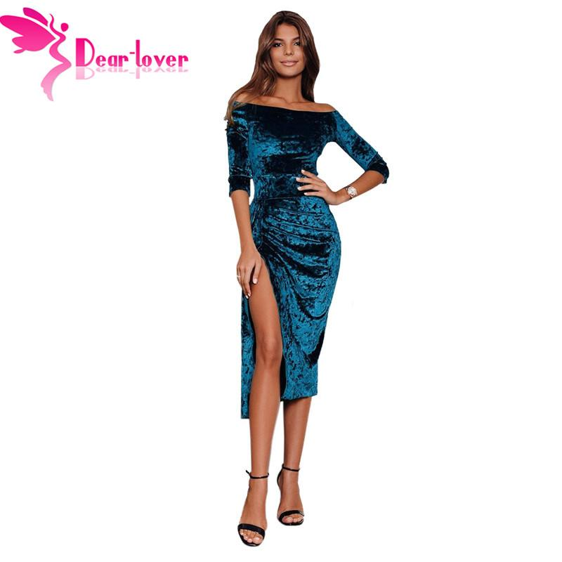 deb40dcf80 New 2019 Sexy Women Off Shoulder Long Sleeve Ruched Velvet Midi Dress High  Slit Bodycon Party Dresses Blue Black LC611006 Dresses For Woman Casual  Evening ...