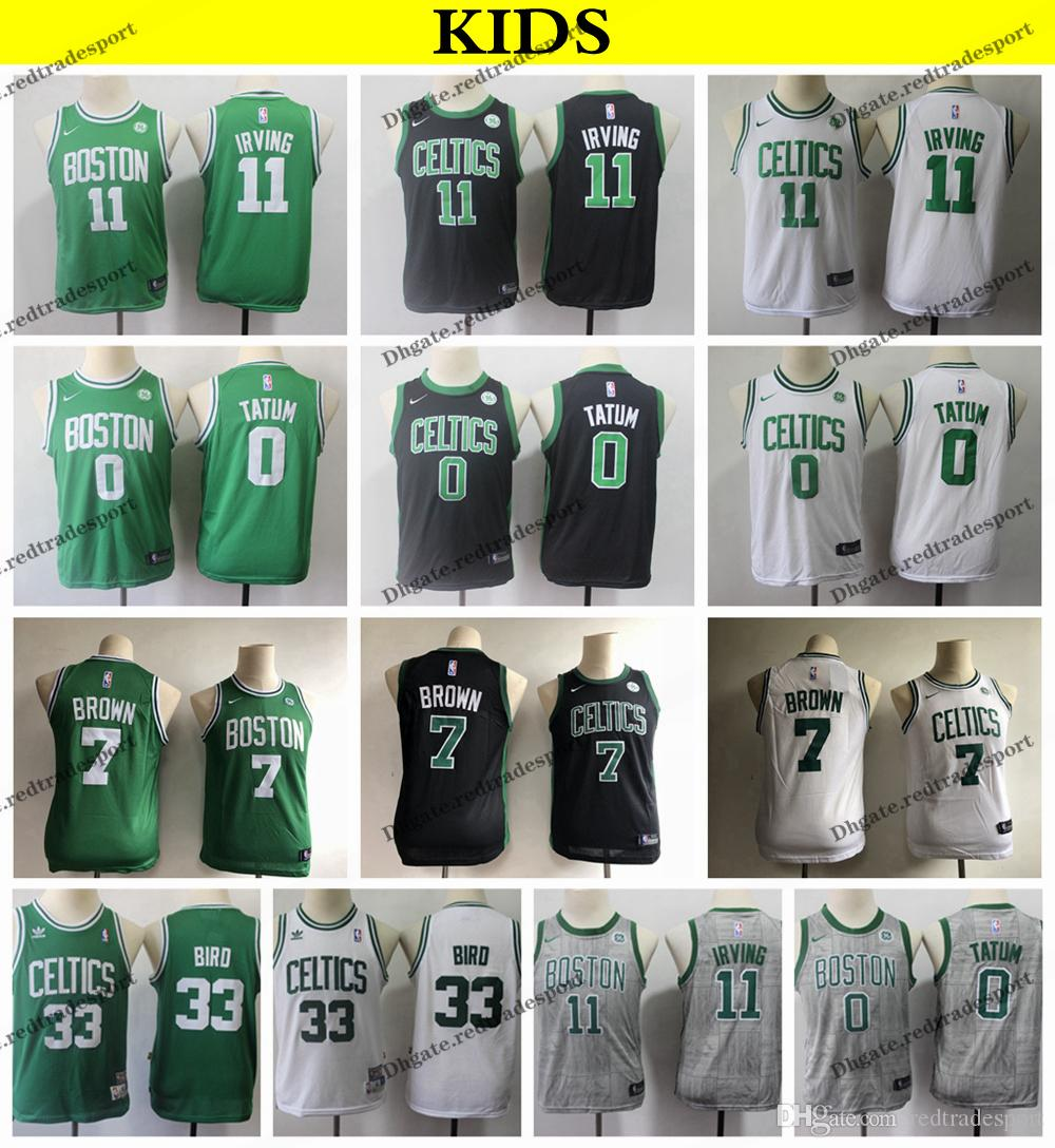 new style 47d78 f9c91 2019 Kids #11 Boston Kyrie Irving Jayson Tatum Jaylen Brown Basketball  Jerseys Cheap Larry Bird #33 Youth Green City Stitched Shirts S-XL
