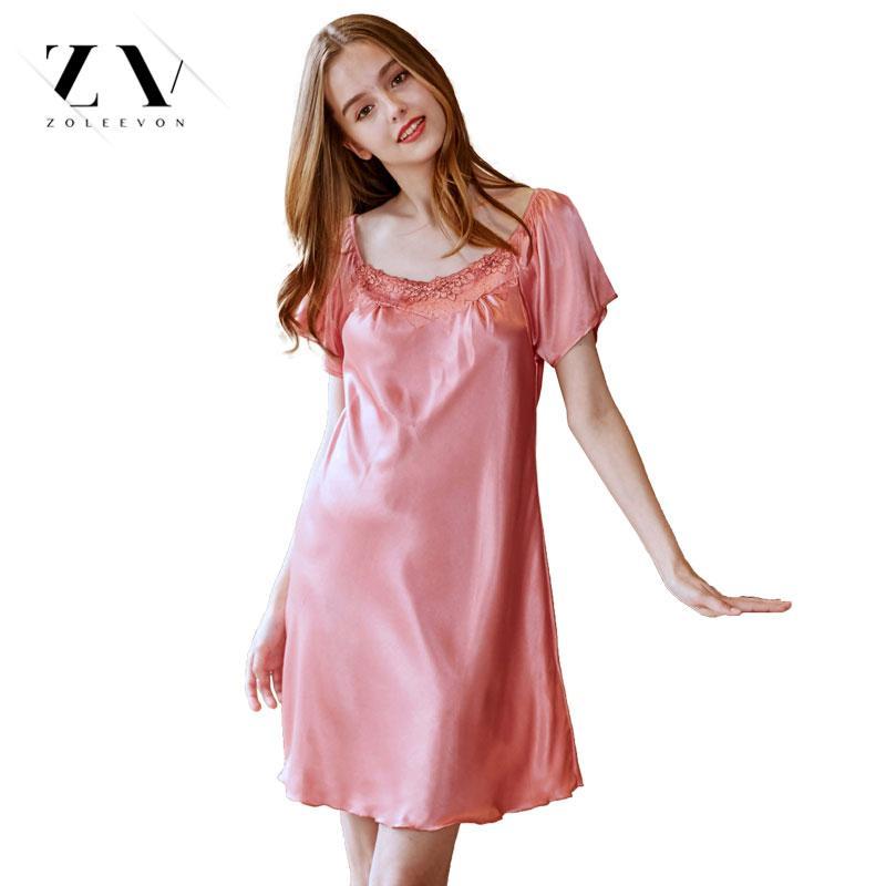 finest selection f07bd a76b8 Damen Seide Nachtwäsche Sommer Nachthemd Sexy Dessous Rosa Nachthemd für  Frauen Satin Schlaf Shirts Chemise Nachtkleid