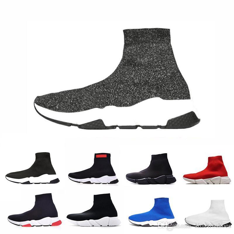 5302dcb312 Compre Balenciaga Shoes ACE Designer De Marca De Luxo Sapatos Casuais Meia  Speed Trainer Preto Vermelho Porter Triplo Preto Moda Meias Botas Sneaker  ...