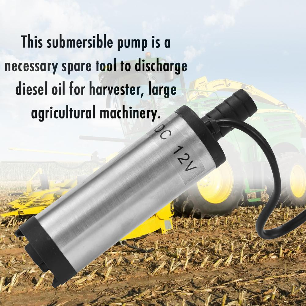 DC 12V Electric Submersible Pump Stainless Steel Submersible Pumps for Water Oil Kerosene 12 L/min Refueling Tool