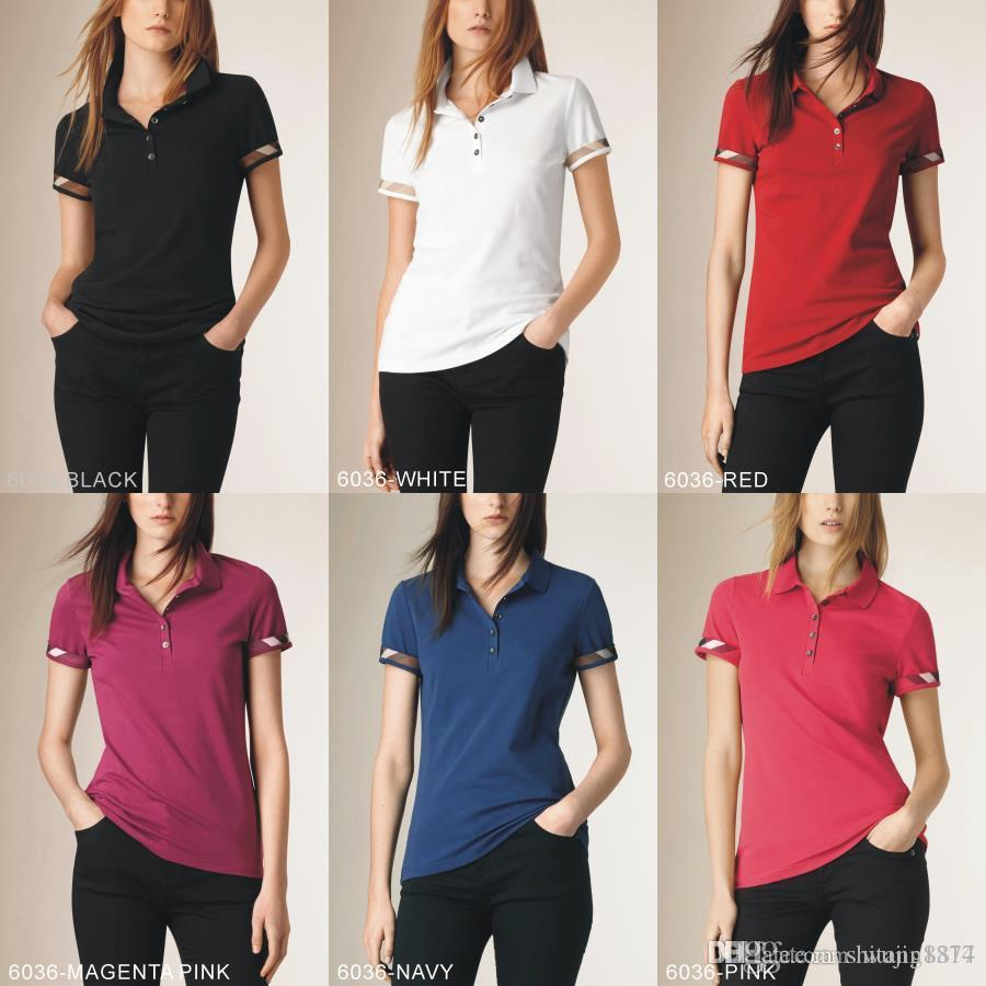 Polos ladies fashion casual polo shirt ladies polo shirt 8-color s-2XL Camisetas blouse Mujer camiseta A014