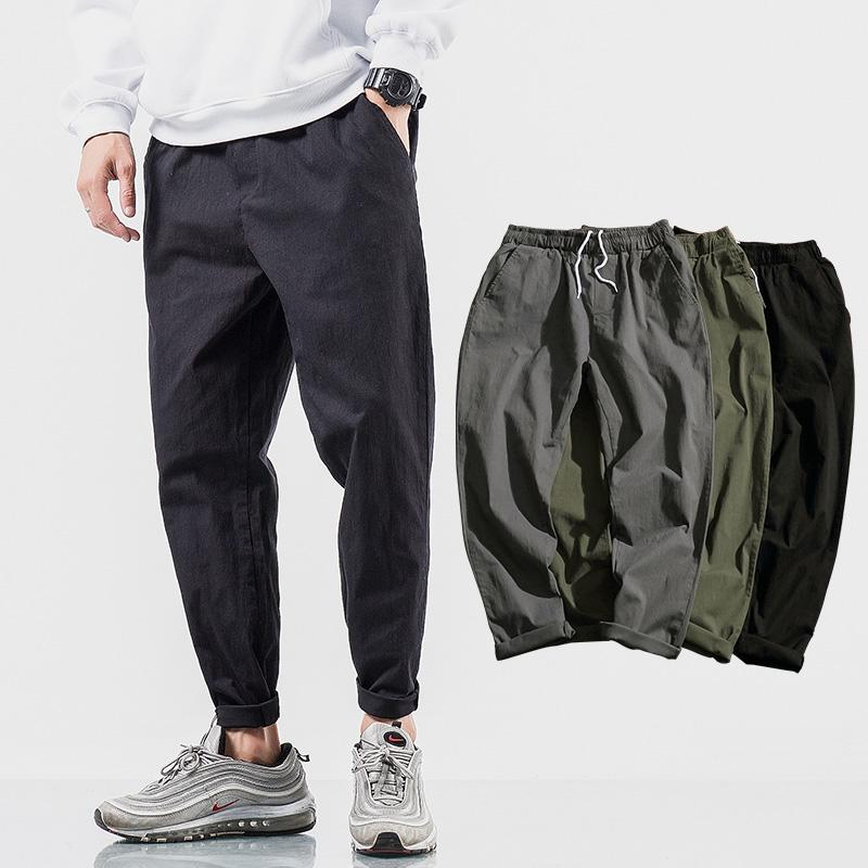 cd521d5fbdf2 2019 Summer Casual Natural Cotton Linen Trousers White Elastic Waist  Straight Cotton Linen Harem Pants Mens Jogger Male From Mujing