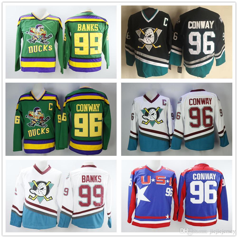b28d96db9ef 2019 NHL Mighty Ducks Jersey 96 Charlie Conway 99 Adam Banks Team ...