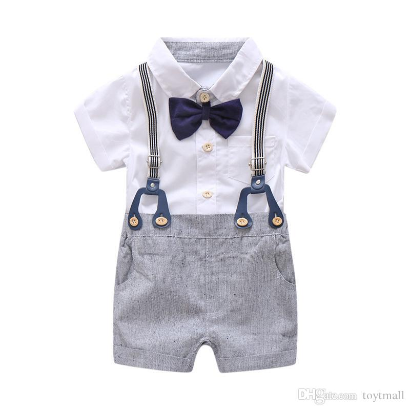 4ee1244fcefe Newborn Baby Boy Summer Formal Clothes Set Bow Wedding Birthday Boys  Overall Suit White Romper Shirt Toddler Gentleman Outfit Summer Formal  Clothes Set Boys ...