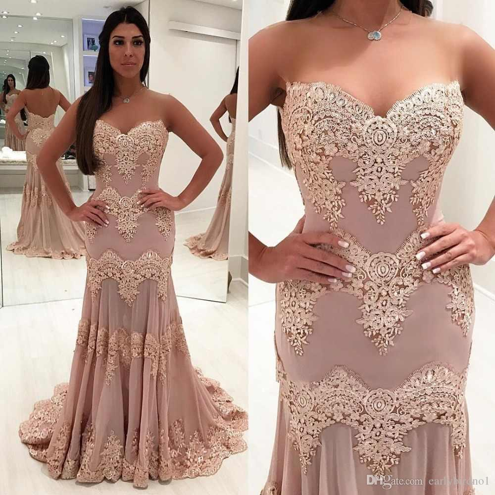 Pink Lace Appliqued Mermaid Prom Dress 2019 Modest Strapless Formal Evening Pageant Gown Plus Size Pageant Dresses Custom Made