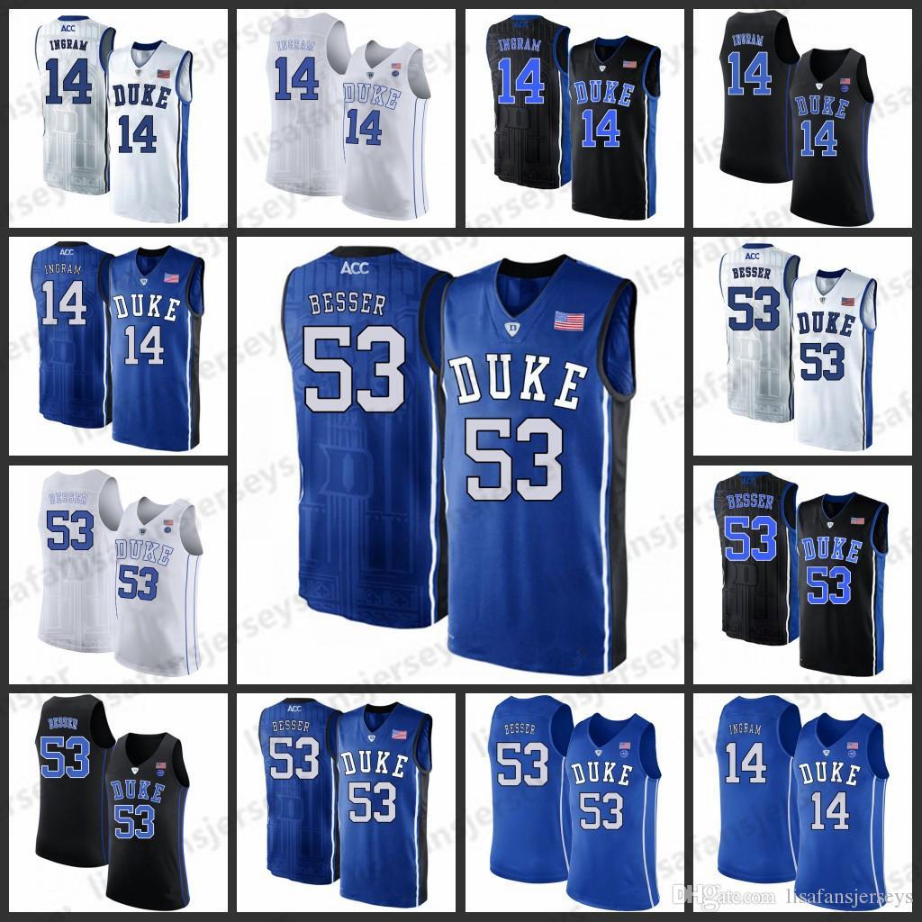 54344c9871e Duke Blue Devils Basketball Jersey Mens 14 Ingrams 53 Brennan Besser ...