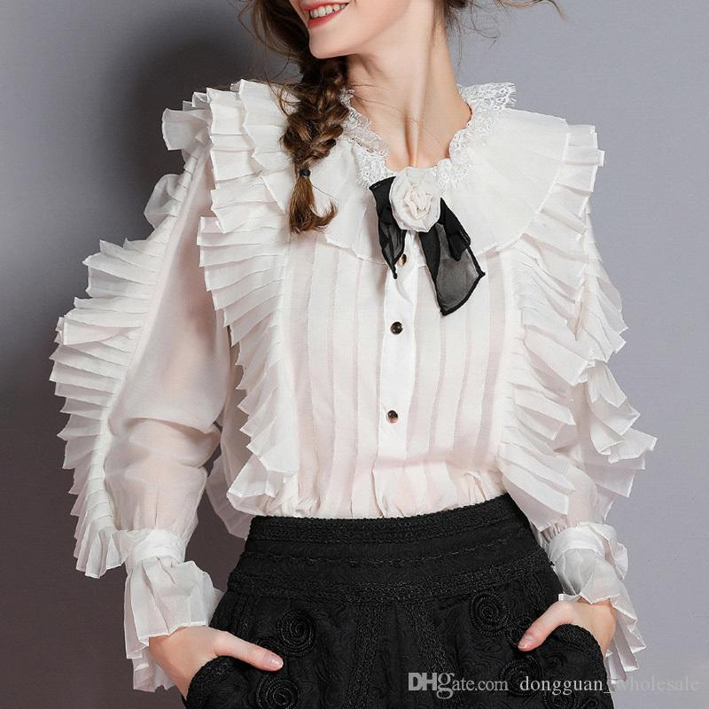 621f523f95347 Compre Camisas Elegantes Para Mujer Blusa Collar De Flores Flare Manga  Larga Patchwork Encaje Ruffle Tops Mujer 2019 Moda De Primavera A  26.96  Del ...