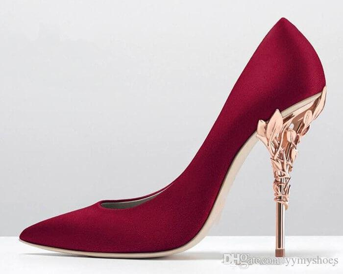 3d7124c9f5e2 Overseas2019 Lady Solid Eden Heel Pump Super Sexy Rose Gold Wedding Shoes  Ralph   Russo Ornate Filigree Leaf Pointed Toe Haute Cheap Shoes Dansko  Shoes From ...
