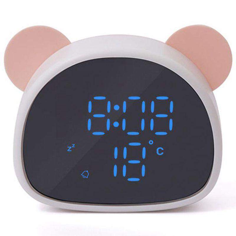 Electronic Digital Led Alarm Clock Creative Cartoon Panda Mirror Clock Snooze Voice Recording Home Decor For Children'S Gift