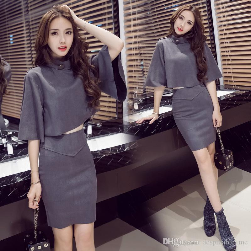 Spring and Autumn New Korean Fashion Deerskin Trousers Speaker Sleeve Short Jacket Sexy Package Hip Skirt Two Piece